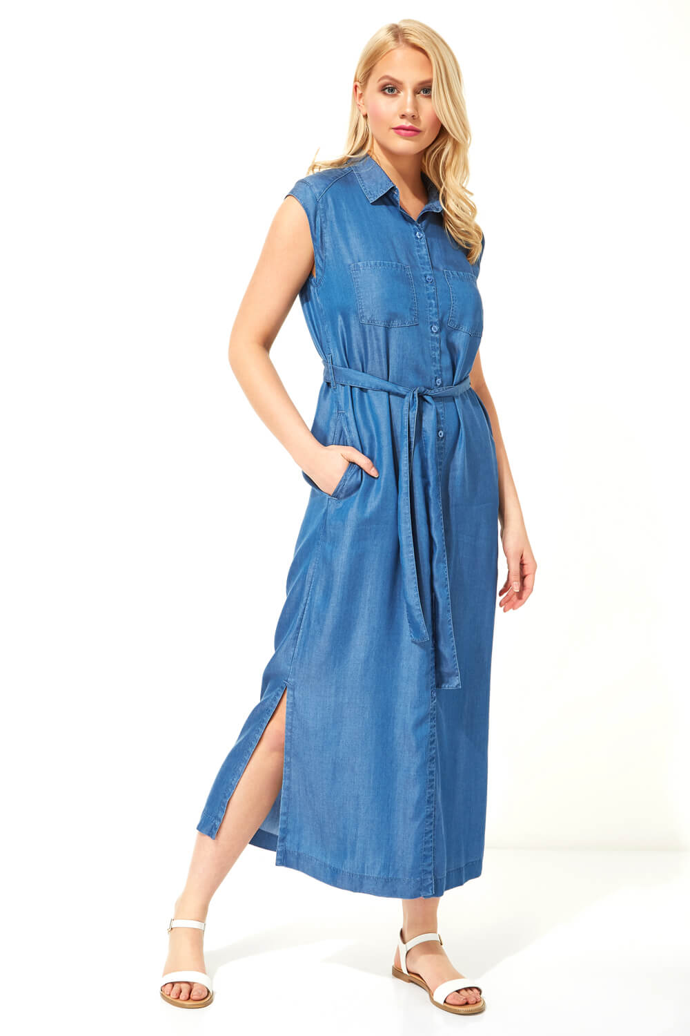 Button-Through-Midi-Denim-Dress-Women-Roman-Originals miniatuur 7