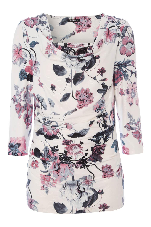 Roman-Originals-Womens-Floral-Cowl-Neck-3-4-Length-Sleeves-Floral-Top thumbnail 14