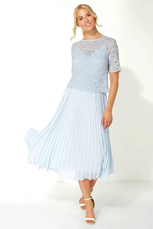 Roman-Originals-Women-Lace-Top-Overlay-Pleated-Dress thumbnail 21