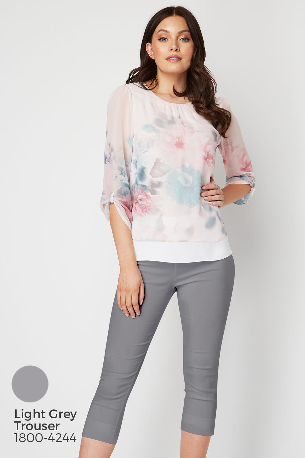 Roman-Originals-Womens-3-4-Length-Sleeve-Floral-Overlay-Top thumbnail 19