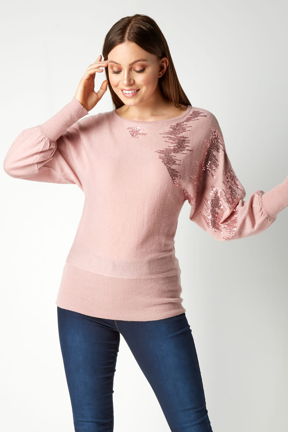 Roman-Originals-Women-039-s-Sequin-Embellished-Batwing-Sleeve-Boat-Neck-Jumper thumbnail 18