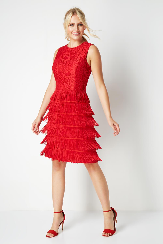 thumbnail 23 - Roman-Originals-Womens-Lace-Flapper-Tassels-Dress-in-Black-Sizes-10-20