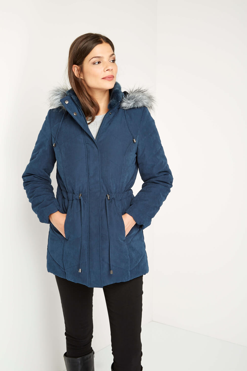 Roman-Originals-Women-039-s-Blue-Quilted-Parka-Coat-with-Hood-Sizes-10-20 thumbnail 14