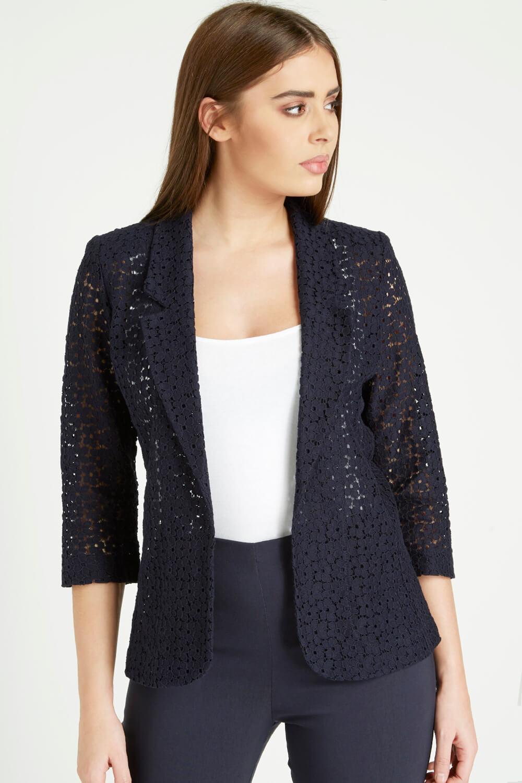 Roman-Originals-Women-039-s-Blue-Floral-Lace-Jacket-Sizes-10-20 thumbnail 20