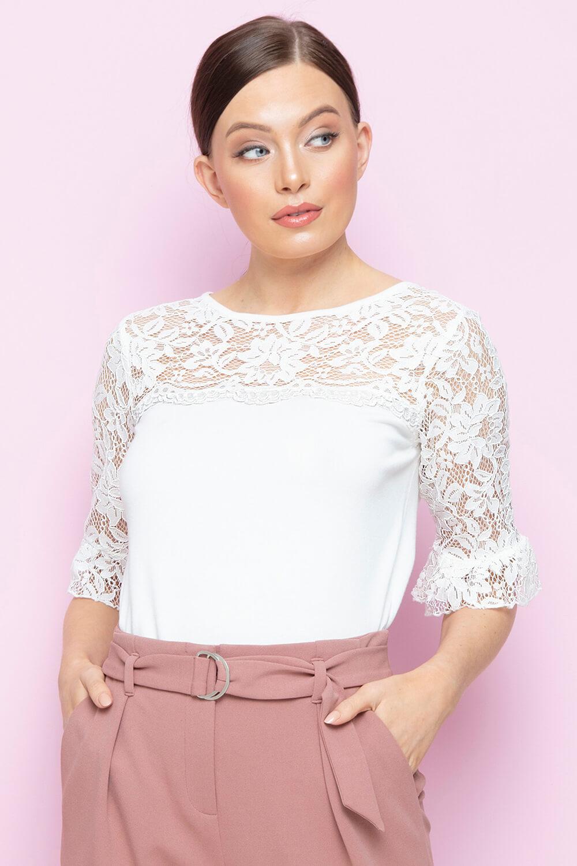 Roman-Originals-Women-039-s-Lace-Overlay-Frill-Sleeve-Top thumbnail 17