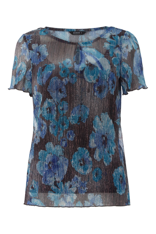 Roman-Originals-Women-039-s-Shimmer-Floral-Print-Top-Sizes-10-20 thumbnail 10