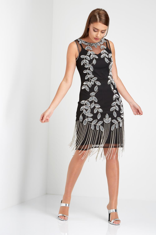 Roman-Originals-Ladies-Embellished-Flapper-Dress-Silver thumbnail 21