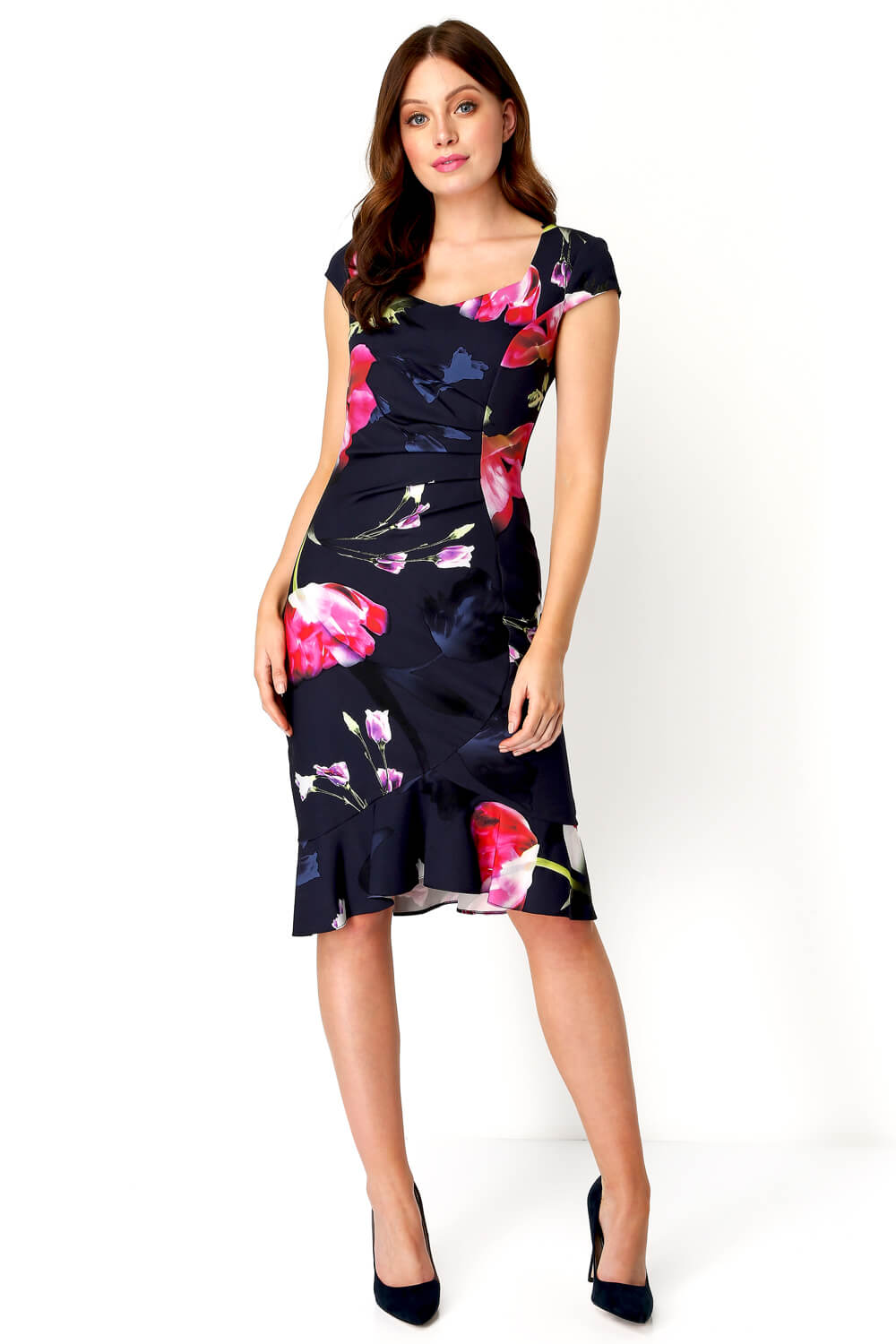 Roman-Originals-Women-Floral-Print-Midi-Ruffle-Hem-Dress thumbnail 15