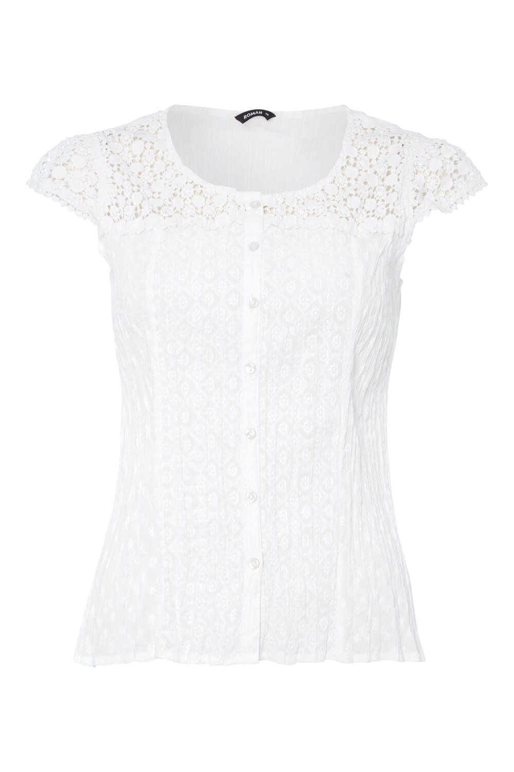 Lace-Yoke-Short-Sleeve-Button-Crinkle-Blouse-Ladies-Women-Roman-Originals thumbnail 17