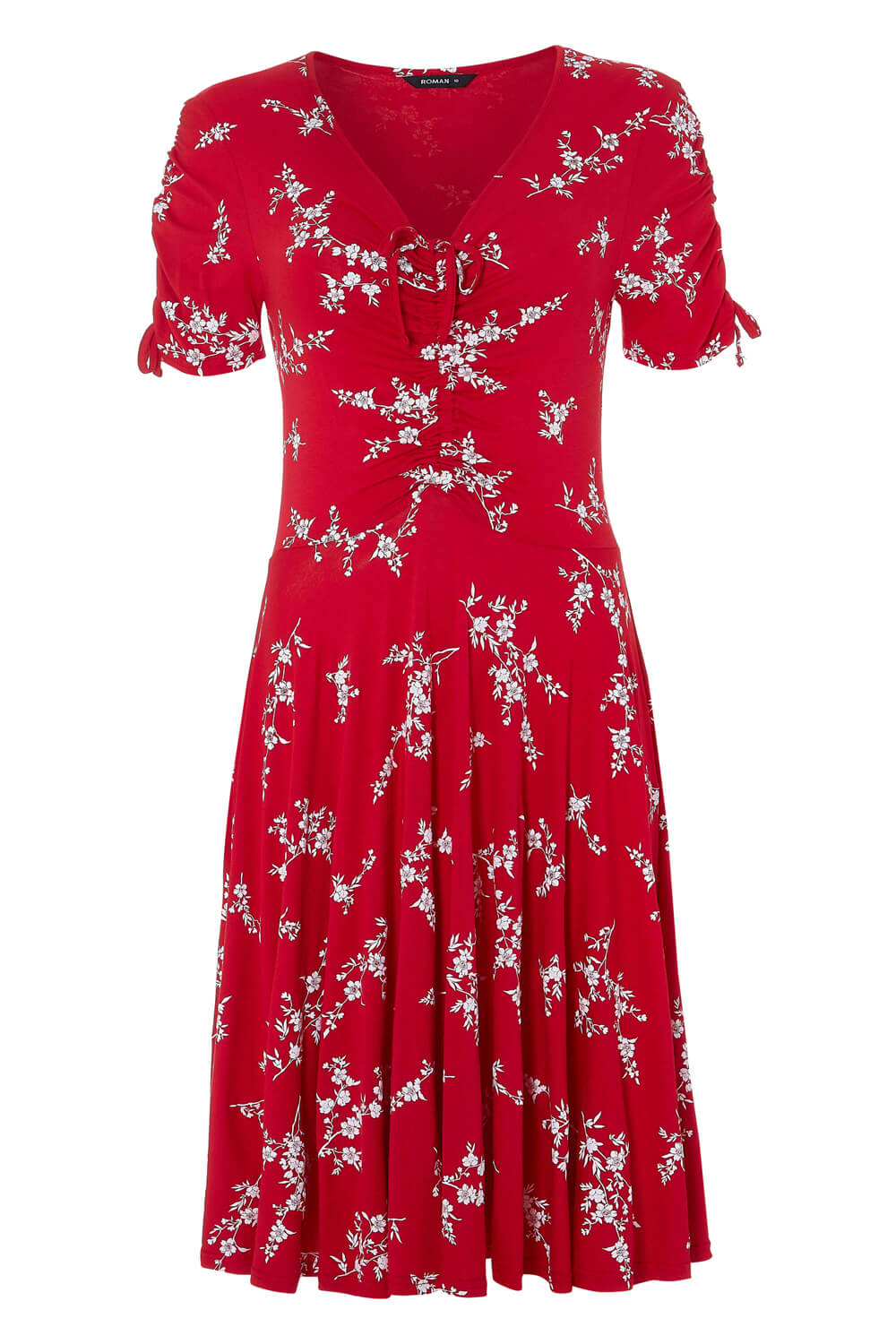 Roman-Originals-Womens-Red-Floral-V-Neck-Short-Sleeve-Dress-Size-10-20 thumbnail 12
