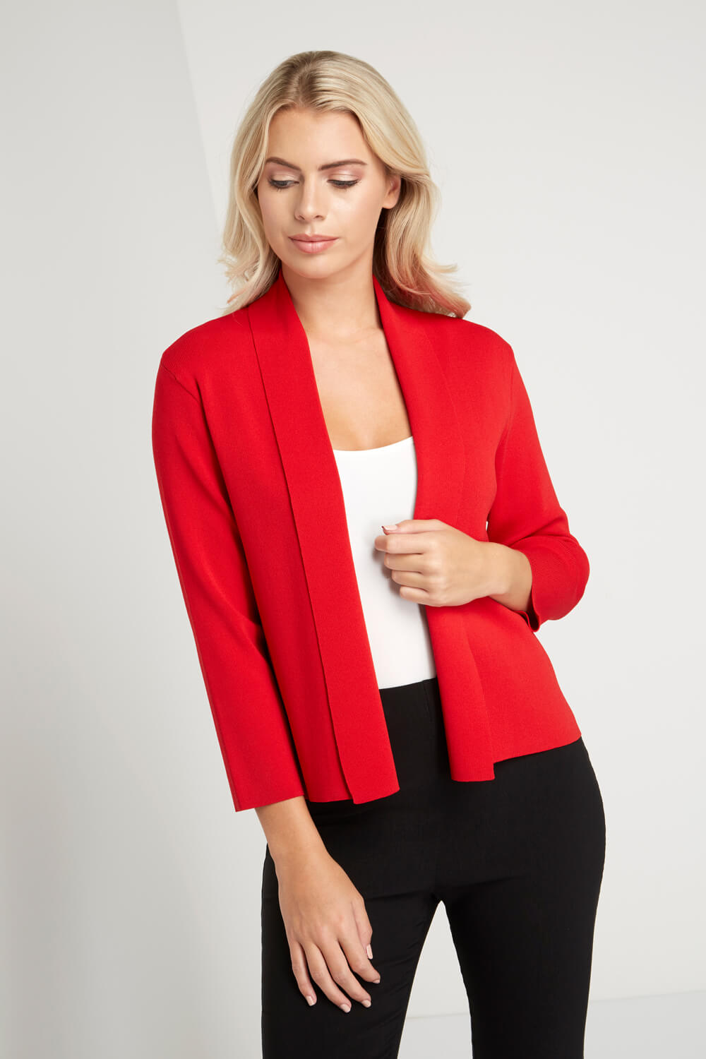 Roman-Originals-Women-039-s-Red-Plain-Shrug-Cardigan-Sizes-10-20 thumbnail 12