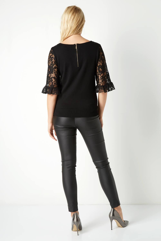Roman-Originals-Women-039-s-Lace-Overlay-Frill-Sleeve-Top thumbnail 14