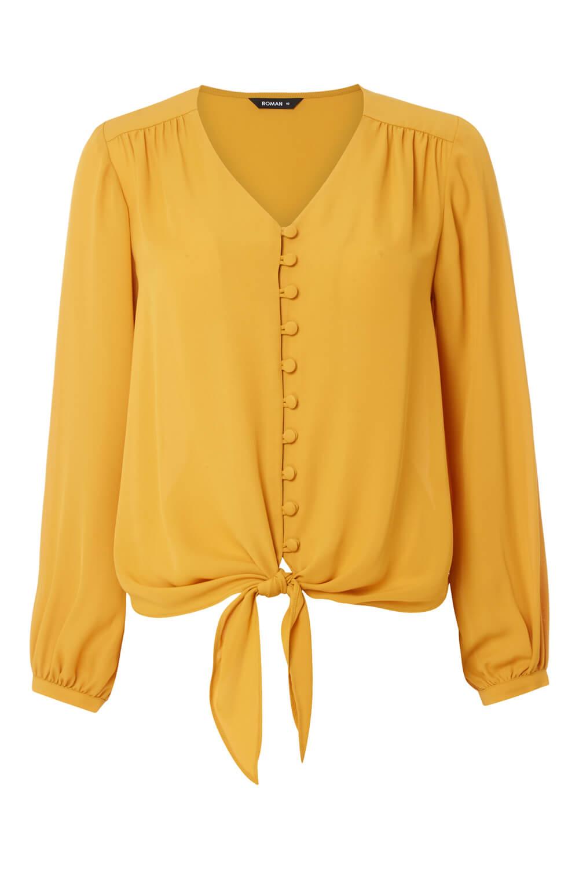 Roman-Originals-Women-039-s-Button-Tie-Front-Blouse-Ladies-Tops thumbnail 25