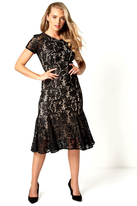 Roman-Originals-Women-039-s-Lace-Flute-Hem-Midi-Dress thumbnail 15