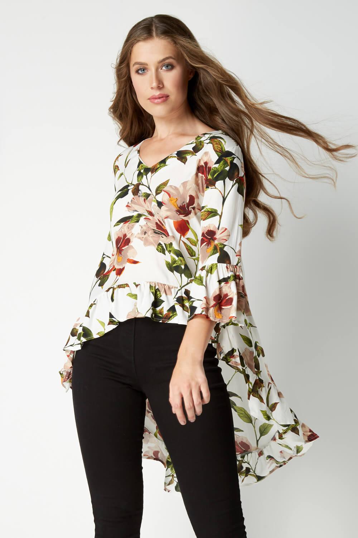 Roman-Originals-Women-039-s-Drop-Ourlet-Floral-Haut-Tailles-10-20 miniature 6