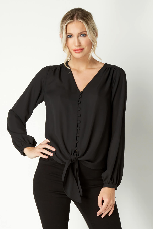 Roman-Originals-Women-039-s-Button-Tie-Front-Blouse-Ladies-Tops thumbnail 14