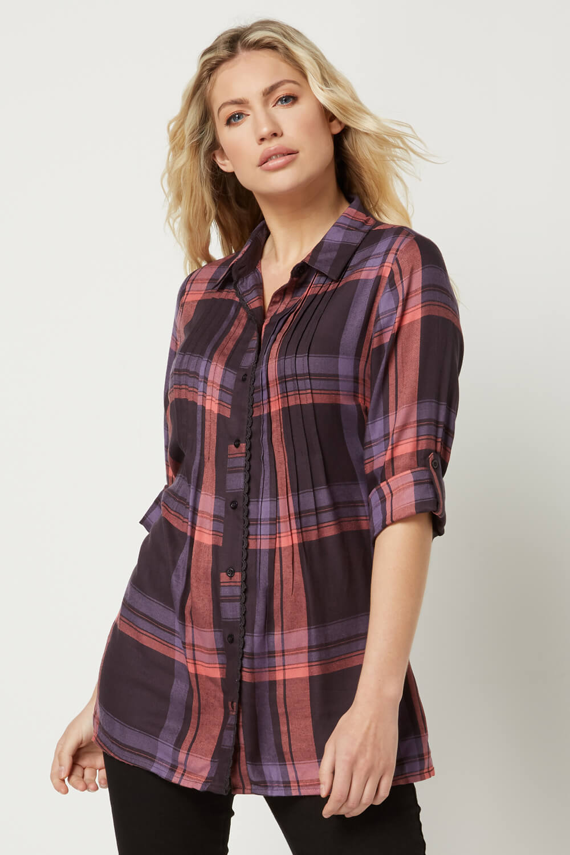 Roman-Originals-Women-Check-Pintuck-Shirt-in-Purple-sizes-10-20 thumbnail 9