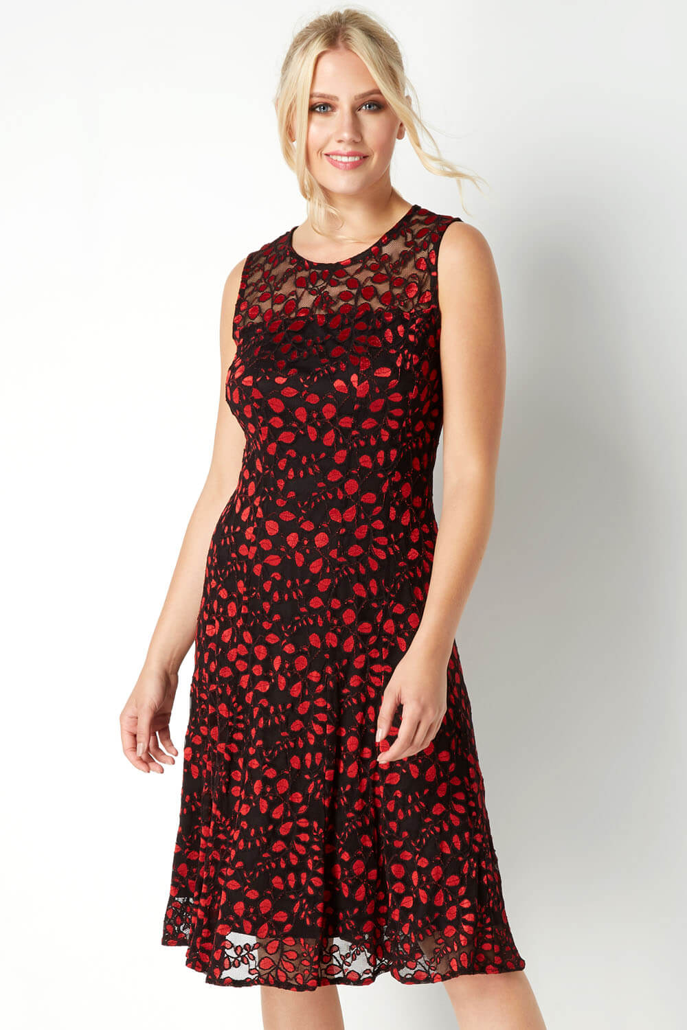 Roman-Originals-Women-Lace-Skater-Dress-in-Red-size-10-20