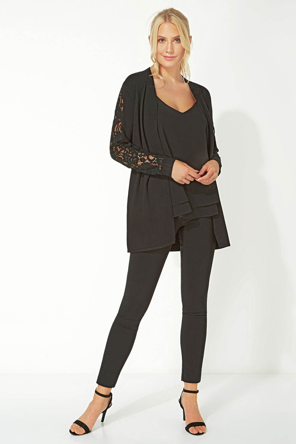 Longline-Long-Sleeve-Lace-Back-Cardigan-Women-Roman-Originals thumbnail 12