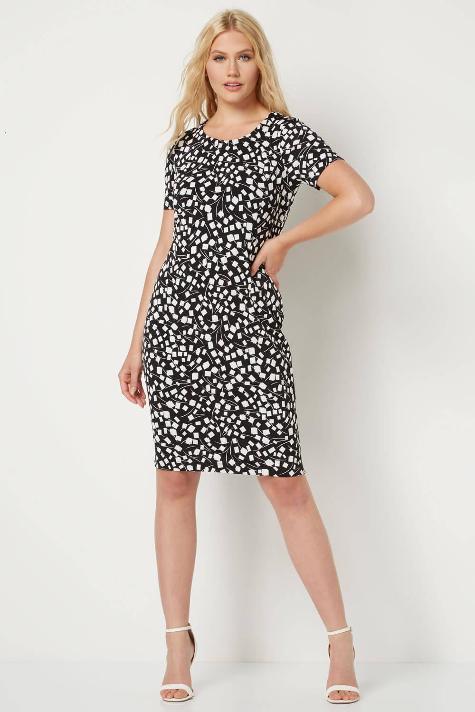 Roman-Originals-Womens-Black-Short-Sleeve-Printed-Dress-Sizes-10-20 thumbnail 15