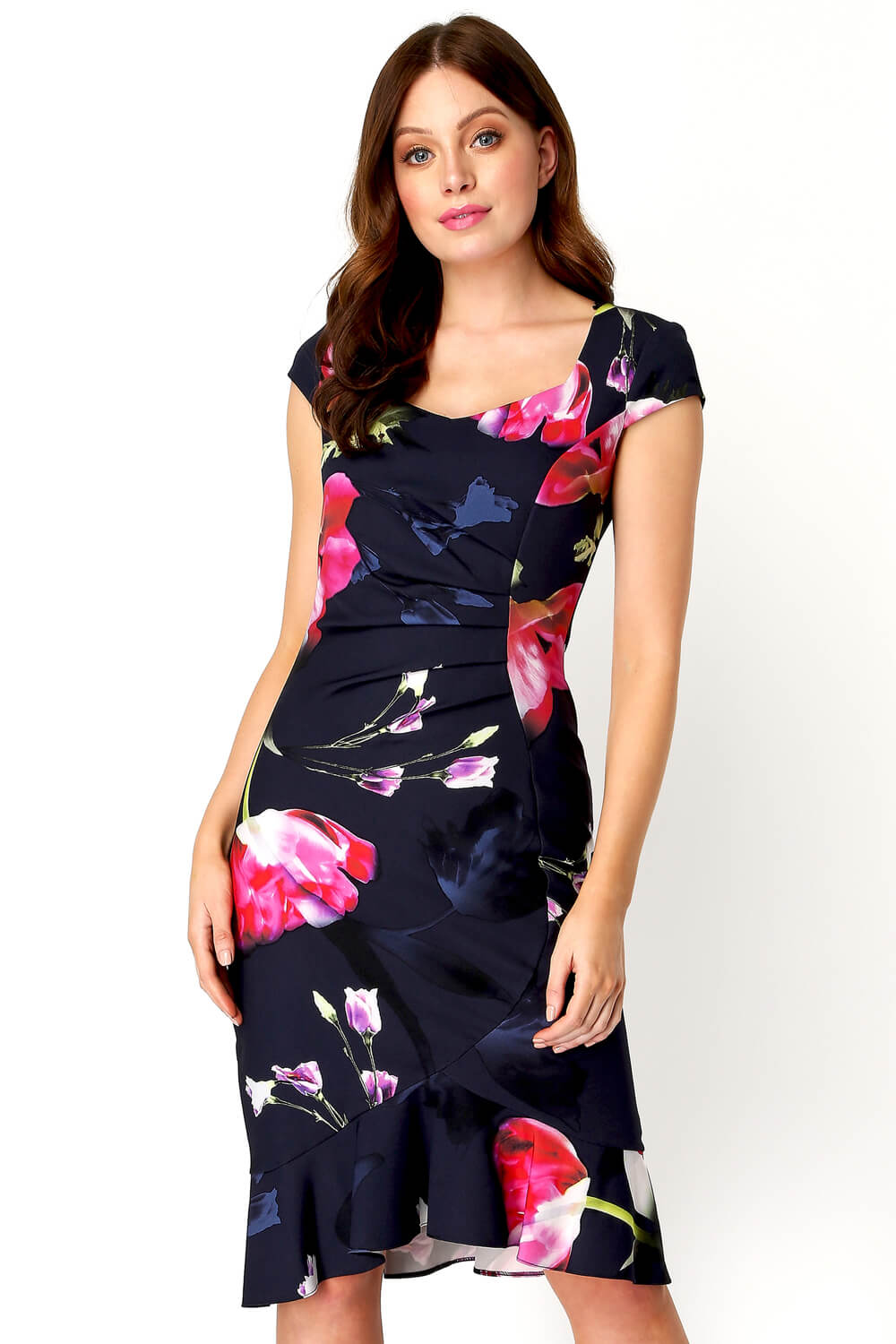 Roman-Originals-Women-Floral-Print-Midi-Ruffle-Hem-Dress thumbnail 14