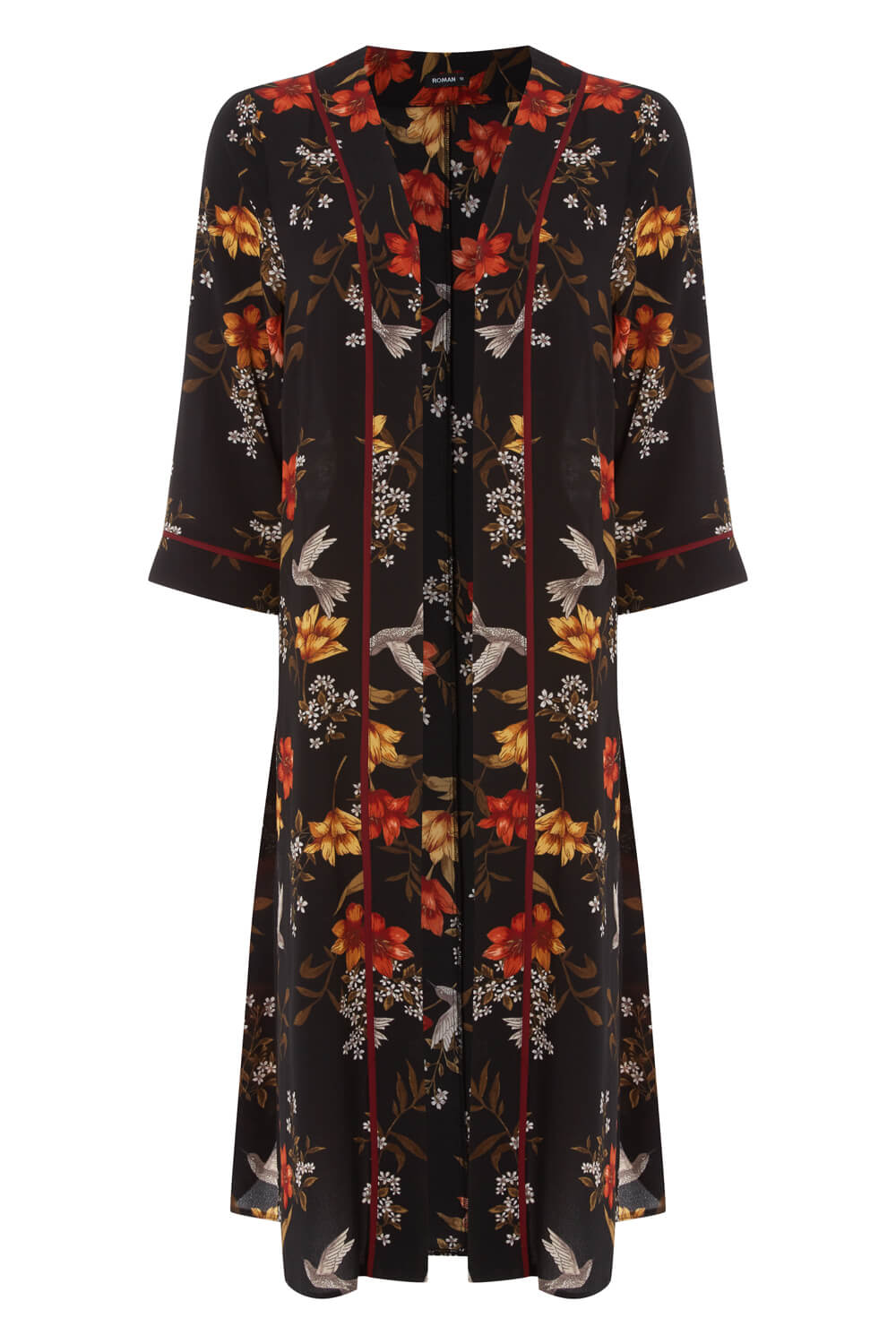 Roman-Originals-Women-039-s-Floral-Longline-Jacket-Kimono-in-Multi-Sizes-10-20 thumbnail 10