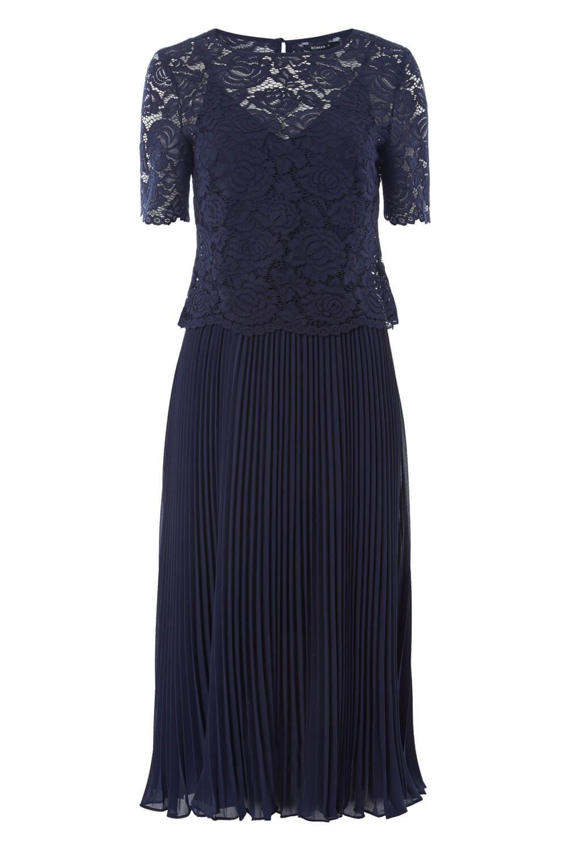 Roman-Originals-Women-Lace-Top-Overlay-Pleated-Dress thumbnail 18