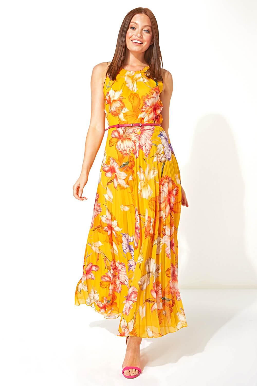Roman-Originals-Women-039-s-Sleeveless-Floral-Pleated-Maxi-Dress thumbnail 23