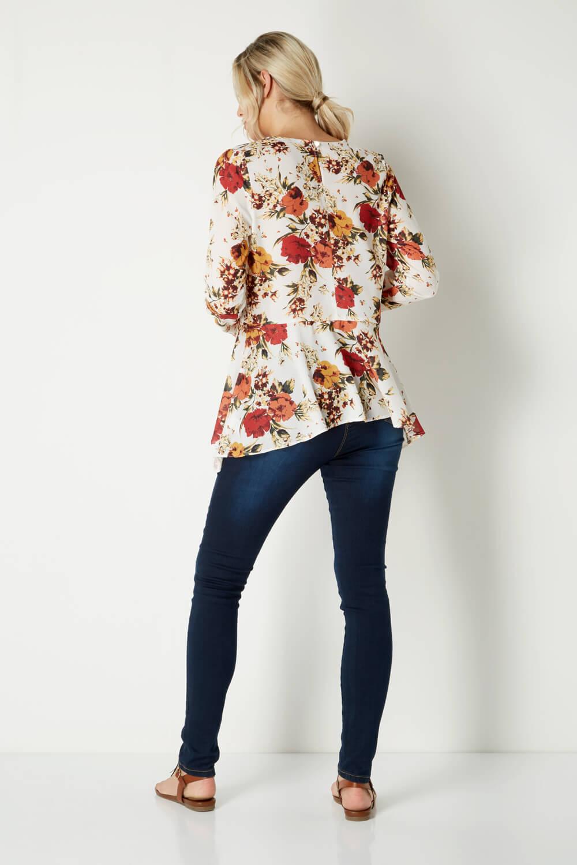 Roman-Originals-Femme-Boho-Peplum-Floral-Haut-Tailles-10-20 miniature 11