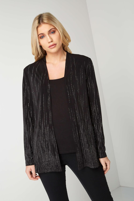 Roman-Originals-Women-039-s-Black-Glitter-Detail-Jacket-Sizes-10-20 thumbnail 6