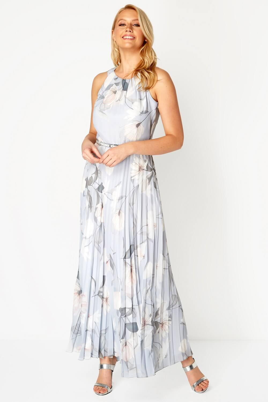 Roman-Originals-Women-039-s-Sleeveless-Floral-Pleated-Maxi-Dress thumbnail 15