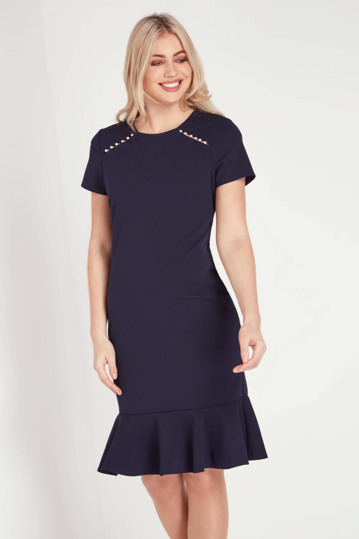 Roman-Originals-Women-039-s-Blue-Pearl-Detail-Square-Neck-Dress-Sizes-10-20 thumbnail 7