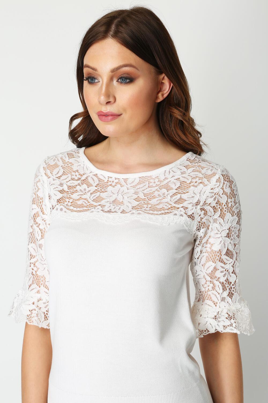 Roman-Originals-Women-039-s-Lace-Overlay-Frill-Sleeve-Top thumbnail 21