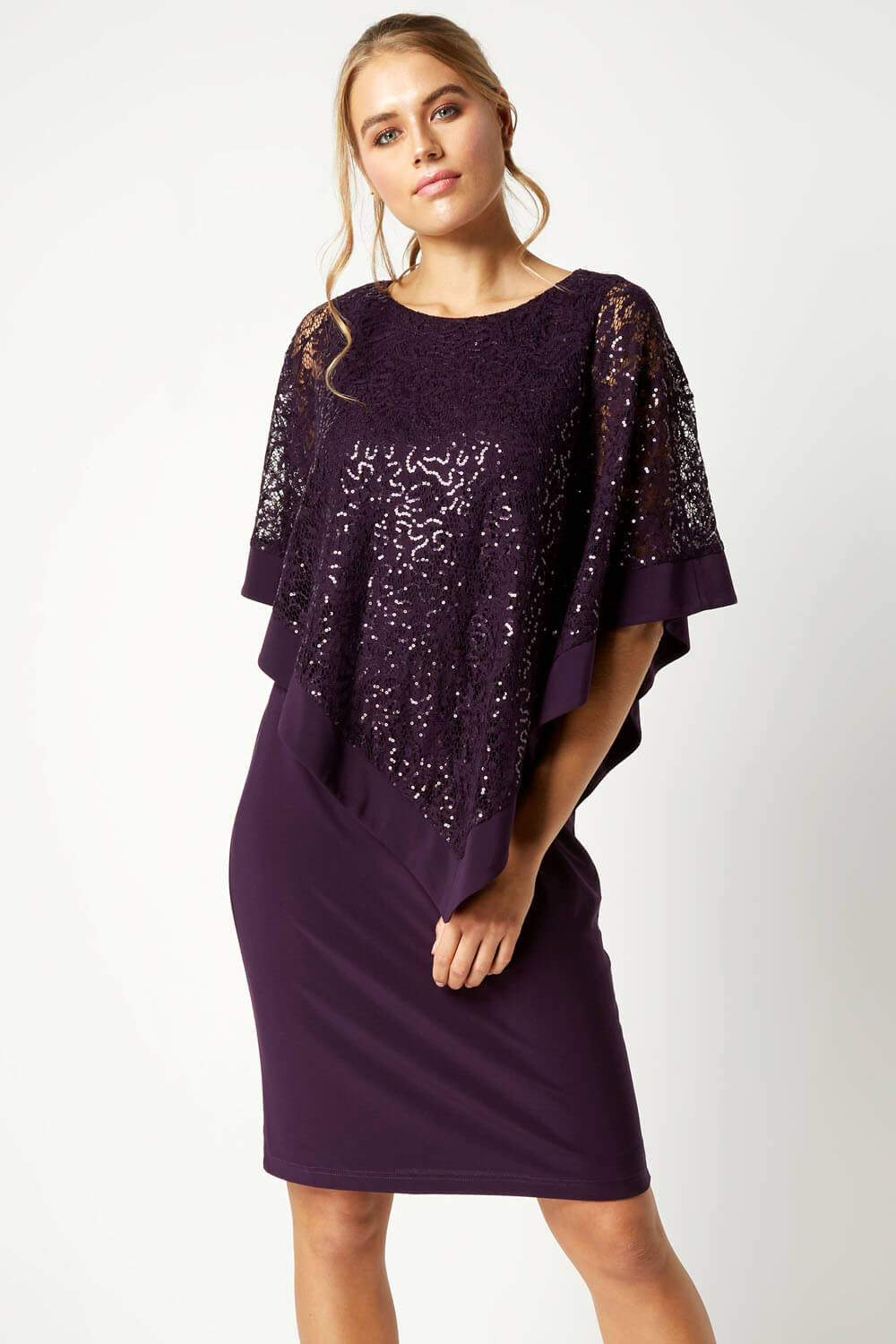 Roman-Originals-Women-039-s-Sequin-Lace-Boat-Neck-Overlay-Knee-Length-Dress thumbnail 19