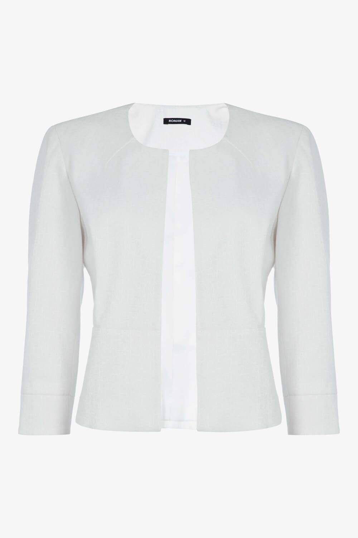 Roman-Originals-Women-039-s-White-Tailored-Jacquard-Jacket-Sizes-10-20 thumbnail 13