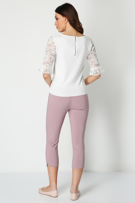 Roman-Originals-Women-039-s-Lace-Overlay-Frill-Sleeve-Top thumbnail 20