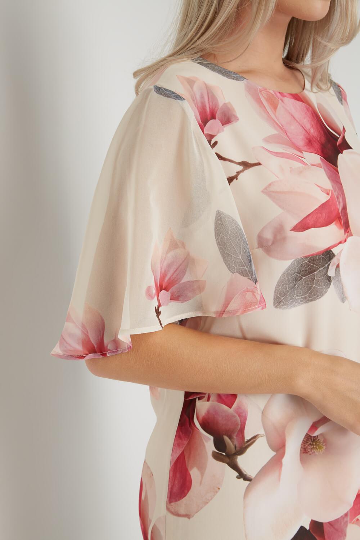 Roman-Originals-Women-039-s-Pink-All-Over-Floral-Print-Chiffon-Dress-Sizes-10-20 thumbnail 11