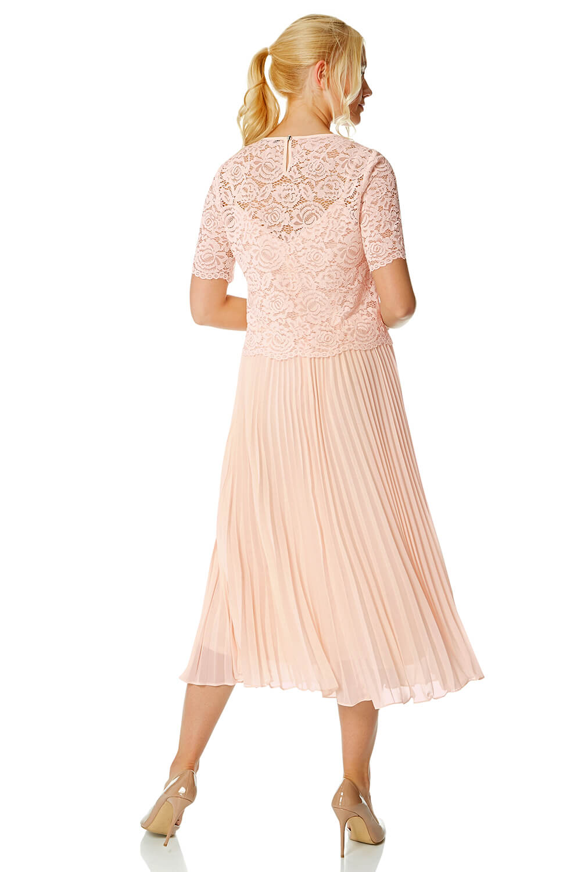 Roman-Originals-Women-Lace-Top-Overlay-Pleated-Dress thumbnail 27
