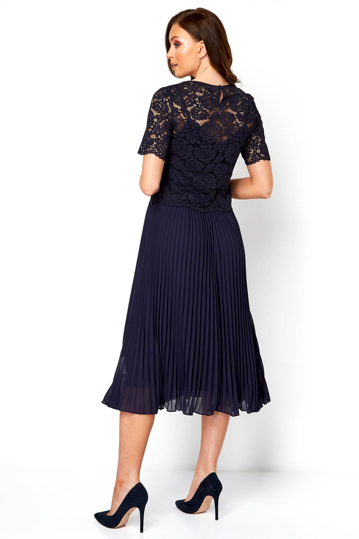 Roman-Originals-Women-Lace-Top-Overlay-Pleated-Dress thumbnail 16
