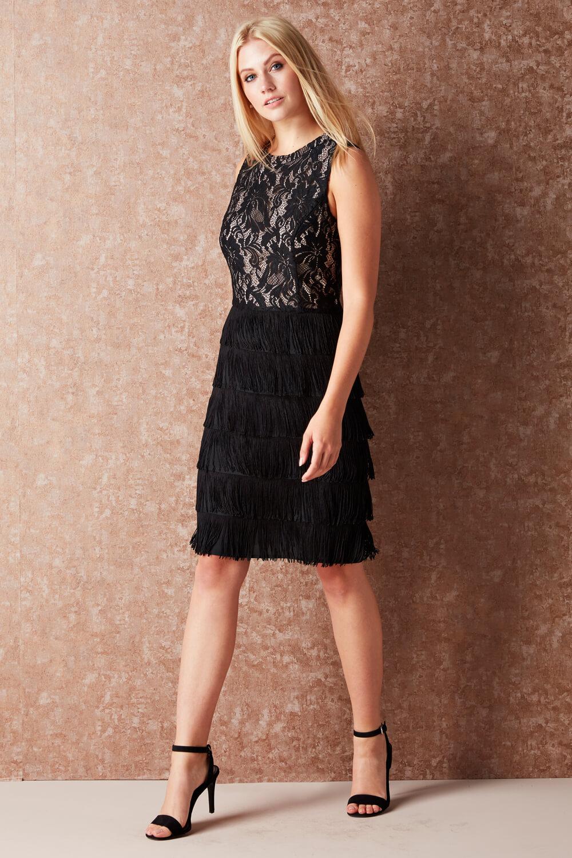thumbnail 14 - Roman-Originals-Womens-Lace-Flapper-Tassels-Dress-in-Black-Sizes-10-20