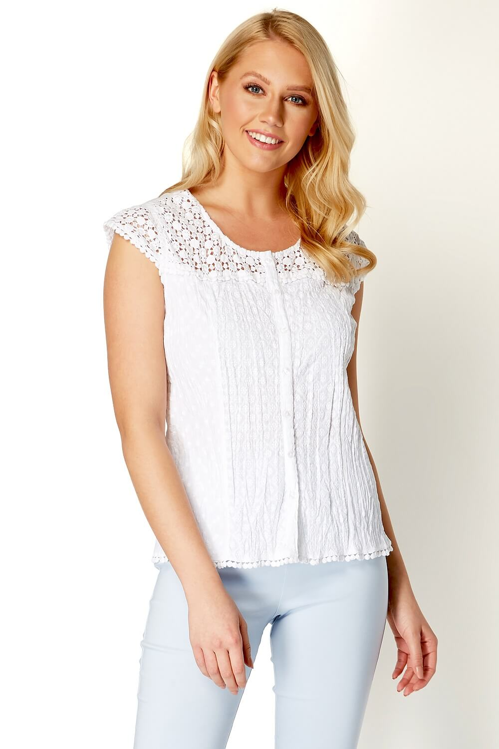 Lace-Yoke-Short-Sleeve-Button-Crinkle-Blouse-Ladies-Women-Roman-Originals thumbnail 14