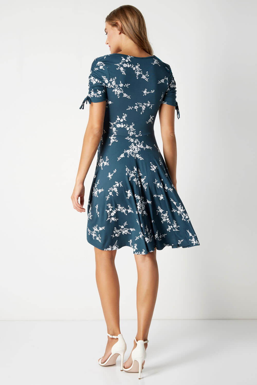 Roman-Originals-Women-039-s-Ditsy-Floral-V-Neck-Short-Sleeve-Skater-Tea-Dress-Teal