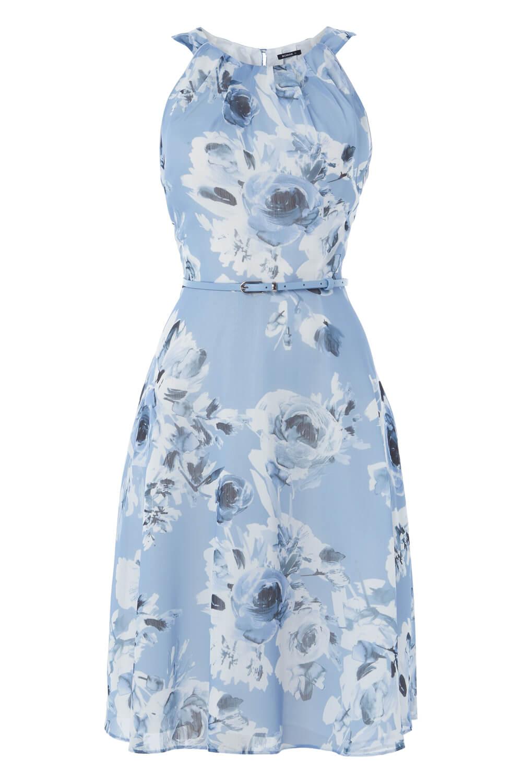 Roman-Originals-Mujeres-Floral-ajustado-y-acampanado-vestido-con-cinturon miniatura 10
