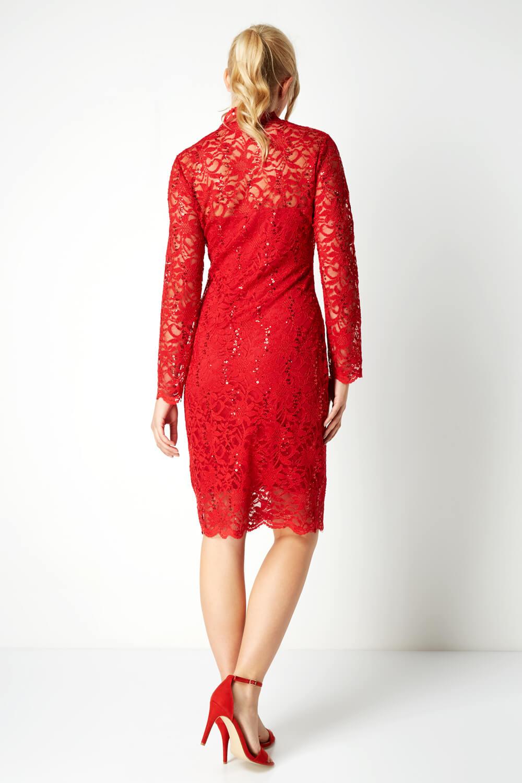 Roman-Originals-Women-039-s-Lace-Long-Sleeved-Midi-Dress thumbnail 7