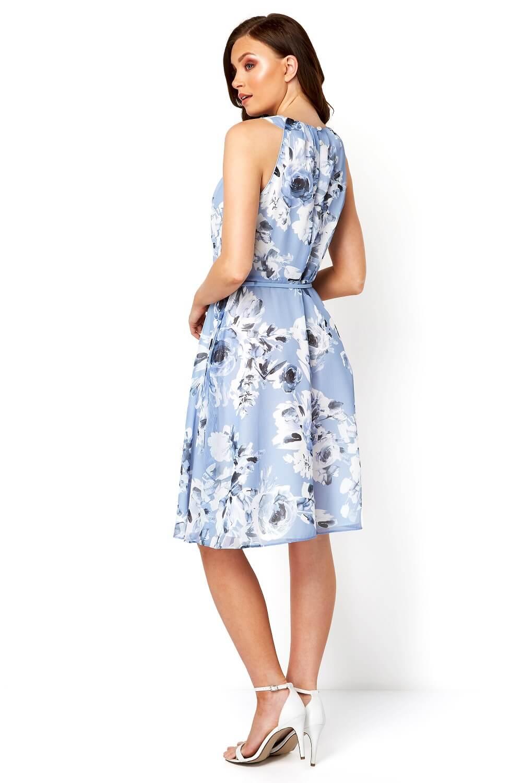 Roman-Originals-Mujeres-Floral-ajustado-y-acampanado-vestido-con-cinturon miniatura 9