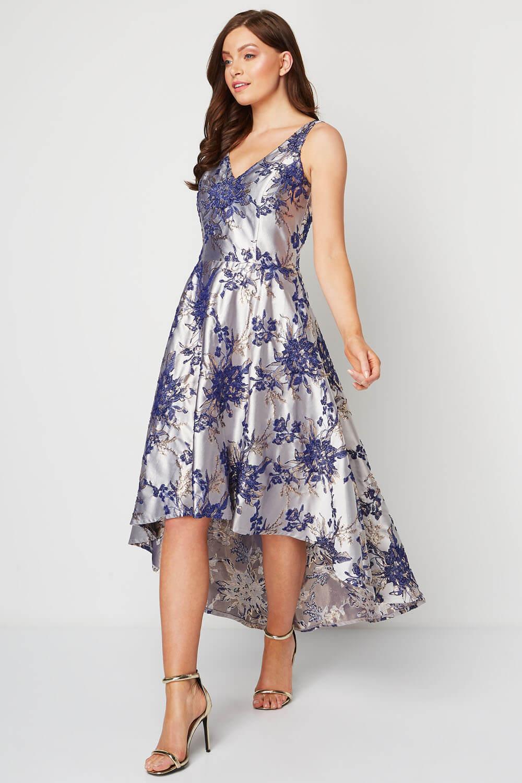 Roman-Originals-Women-Floral-Jacquard-Gown-Dress thumbnail 11