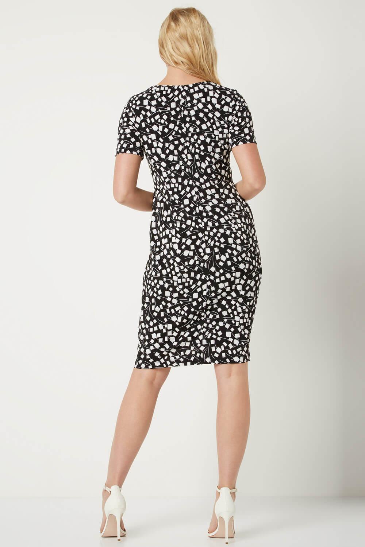 Roman-Originals-Womens-Black-Short-Sleeve-Printed-Dress-Sizes-10-20 thumbnail 16