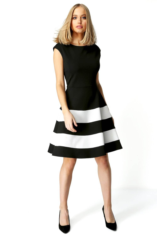 Roman-Originals-Women-Colour-Block-Fit-And-Flare-Dress thumbnail 8