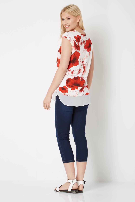 Roman-Originals-Femmes-Rouge-V-cou-Poppy-Imprimer-Mousseline-Ourlet-Haut-Tailles-10-20 miniature 8
