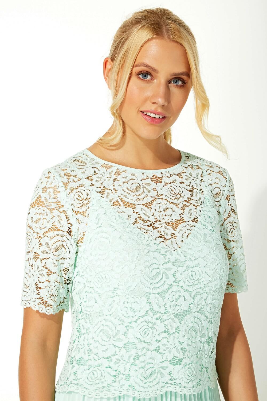 Roman-Originals-Women-Lace-Top-Overlay-Pleated-Dress thumbnail 37